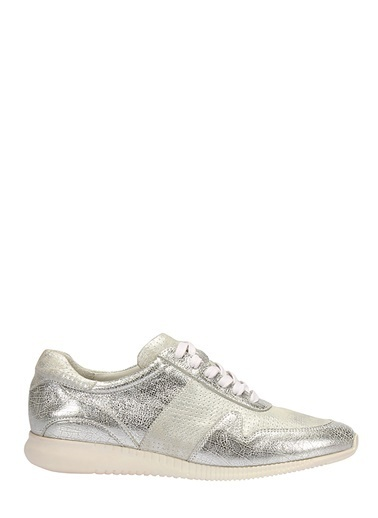 İnci Hakiki Deri Sneaker Ayakkabı Gümüş